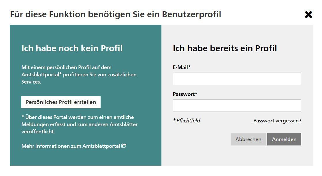 Anmeldemaske epublikation.ch