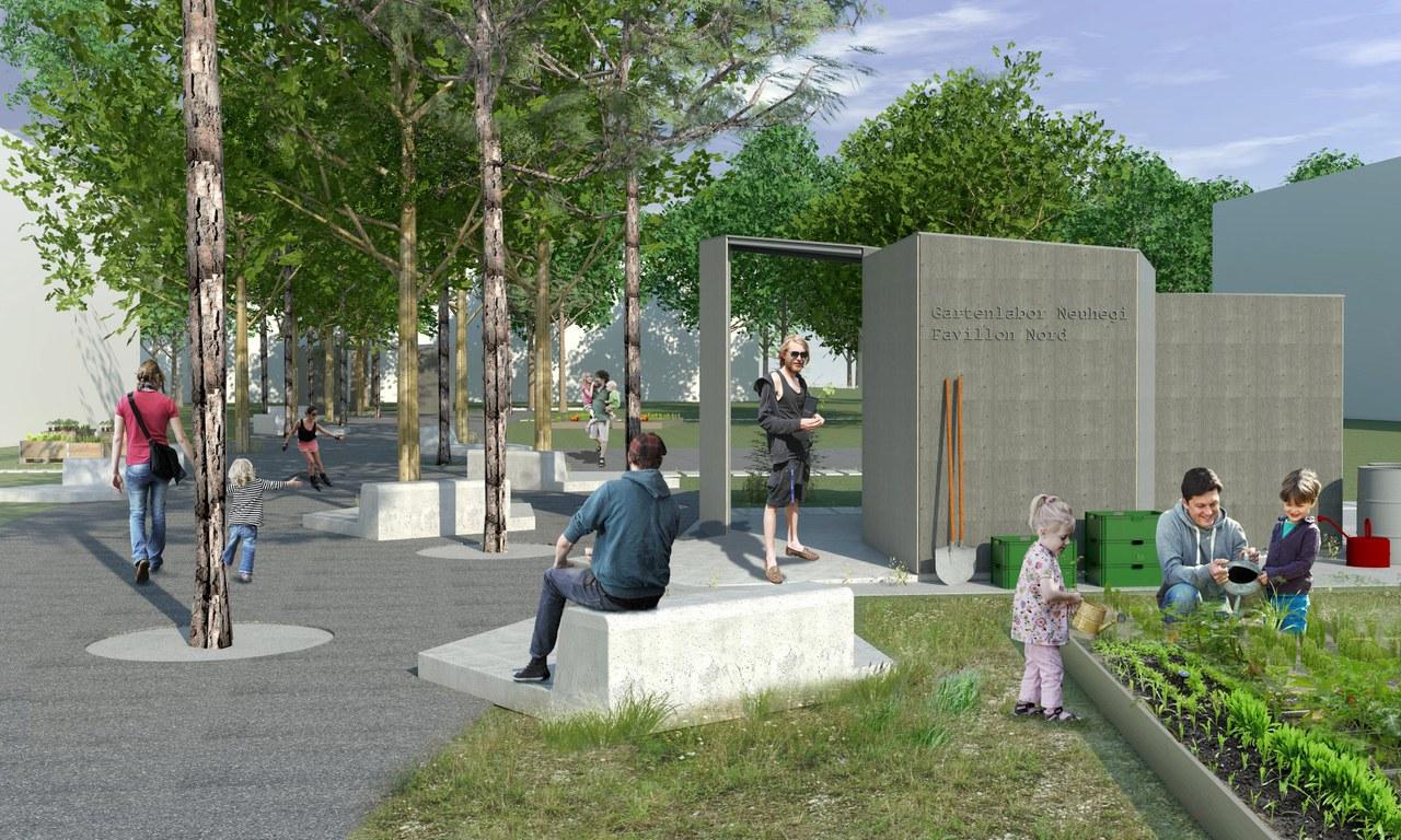 Beispielhafte Visualisierung Hauptweg und Pavillon im Ida-Park